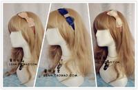 Korea Fashion Beige Blue Brown 3Color silk yarn diamond rhinestone bow elastic hair bands hair accessories for women hair band