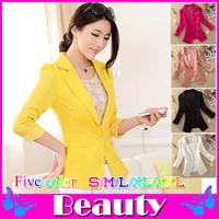 Fashion 2014 lace stitching three quarter blazer women blazers and jackets PLUS size Candy color blazer feminino S/M/L/XL/XXL