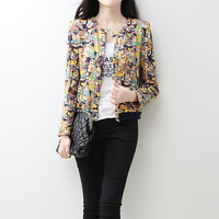 8100 2014 autumn women's o-neck abstract pattern shoulder pads slim long-sleeve small short jacket