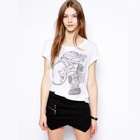 Free Shipping Monkey luggage handmade black and white print o-neck short-sleeve t-shirt