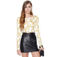 Free Shipping Gold necklace pattern print o-neck long-sleeve elastic slim basic t-shirt