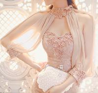 Luxury sexy fish tail   formal dress pregnantwith pearl sexy chiffon lace half  slim one-piece dress