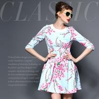 Fashion high quality taohuajiangriver high waist princess one-piece dress