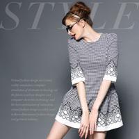 Fashion high quality handmade vintage flower embroidery net check low-waist ruffle hem one-piece dress