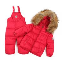 free shipping baby Children boys girls winter warm down jacket suit set thick coat+jumpsuit baby clothing set kids jacket