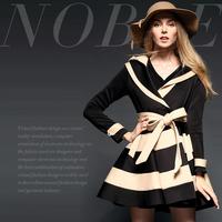 Fashion fashion stripe print double layer turn-down collar high waist slim overcoat