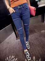 The New 2014 Hole Cut Cultivate One's Morality Show Thin Hair, Fashion And Personality Nice Nine Points Type Pencil Ms Jeans