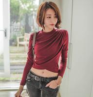 Sexy elegant pleated short design slim long-sleeve female T-shirt irregular 100% cotton personality top