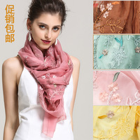new fashion women  embroidery solid color design long polyester scarf ,big shawls GF012 free shipping