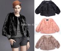 Free shipping new 2014 autumn and winter coat elegant luxery faux fur coat short design women's fur overcoat Black Pink Khaki