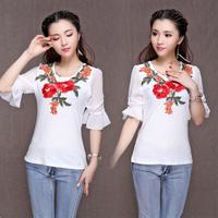 7246 # China style 2014 summer new chiffon fifth of the sleeve crew neck t-shirt women
