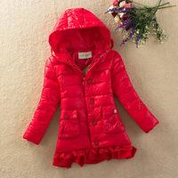 Free shipping retail Child down coat medium-long female child children's clothing down coat fashion