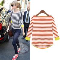 100% cotton women's Fashion stripe round collar long-sleeve t-shirt