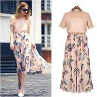 HOT New Brand 2014 Summer Women Casual Print Sleeveless Dress Chiffon stripe / floral print Elastic Waist Bohemian Beach Dresses
