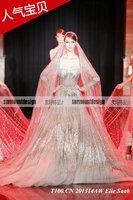 New Design A-line Sheer Neckline Embelished With Crystal Beads Tulle& Lace Wedding Dress 2014 Bridal Dress
