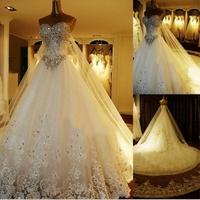 Free shipping vestidos de novia  wedding  dress train wedding dress bride quality luxury wedding dress -ball -gown