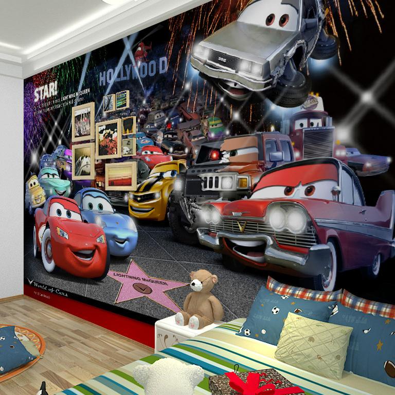 Mural Large mural children's room green wallpaper TV backdrop bedroom woven wallpaper Cars cartoon(China (Mainland))