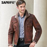 Winter Genuine Leather Jacket Man Stand Collar Short Thicken Fur Lining Solid Zipper Slim Outerwear Plus size XS-5XL