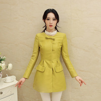 Free shipping 2014 new Female paragraph dust coat grows in autumn wear bowknot of tall waist coat