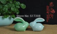 2pcs/lot Chinese Porcelain celadon tea pet kiln longquan celadon tea set rabbit tea pet decoration car accessories ornament gift