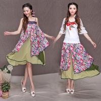 7243 # China style 2014 summer new retro Saika chiffon bust skirt tutu waist