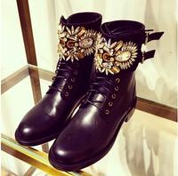 Free Shipping! Spring and autumn luxury rhinestone gem lacing hasp round toe medium-heeled martin boots short boots