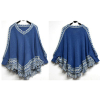 National trend female sweater outerwear loose plus size tassel cloak cape sweater batwing sleeve sweater pullover