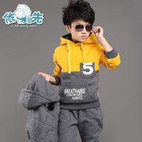 2014 children's autumn clothing male child autumn set 3 - 4 - 5-6-13 child sweatshirt piece set winter thickening