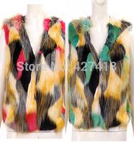 1227 2014 autumn and winter female short design faux fur sleeveless V-neck fur coat vest vest
