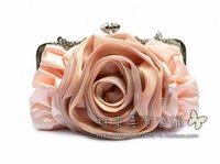 2014 New Fashion Style Bridal Handbag designer Rivet Lady wallet Clutch Purse Rose Flower Evening Bag dropshipping 9 ColorsTotes