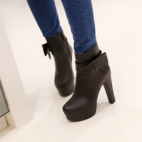 2014 autumn and winter fashion women's shoes side zipper high-heeled boots bow thick heel martin boots33Size