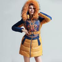 Free shipping Luxury high quality large raccoon fur Women thickening medium-long plus size female down coat