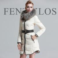 Free shipping luxury slim medium-long down coat thickening ruffle fox large fur collar