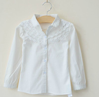 2014 spring new arrival female child girls aesthetic laciness 100% cotton shirt