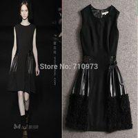 High Quality Women 2014 Autumn And Winter Fashion Paillette Knee Length Tank Black Dress Elegant Patchwork Woolen Sequined Dress