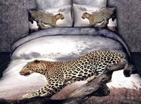 3d 100% activated three-dimensional cotton print piece set princess bedding 100% cotton four piece set bedding leopard