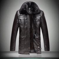 fur collar detachable thickening Winter motorcycle Leather jacket Men's Brand Jacket luxury fur sheep leather men's Fur coat