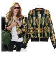 New 2014 High Street Jackets Women All-Match Chiffon Short Jacket Slim Long-Sleeve Vintage Printed Coat Jackets outerwear