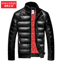 Free shipping FORANEDE Men down coat short design slim stand collar PU down jacket outerwear coat male