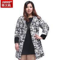 2014 NEW Women Plus Size Clothing 100kg 125kg Autumn and Winter Medium-long Belt Outerwear 4xl 5xl 6xl 7xl 8xl 9xl 10xl