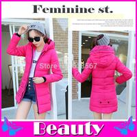 2014 down coat slim winter jacket women jacket Long-sleeved hooded winter coat Plus size L XL 2XL 3XL women coat