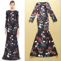 Europe Celebrity High End Designer Dress Women's Vintage Long Sleeves Red Rose Floral Printed Mermaid Prom Dress