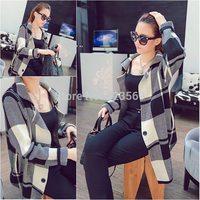 2014 long cardigan women fall Autumn elegant loose classic color block plaid korean fashion designer sweater casual cardigans