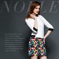 Colorful fashion brief cubic print slim waist one-piece dress