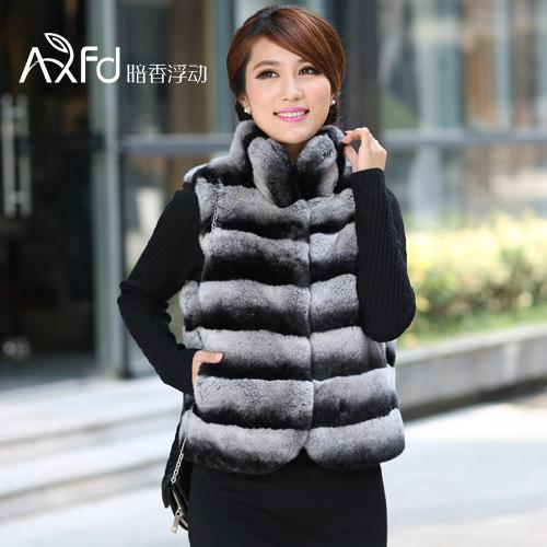 2014 New hot sell women autumn-winter short slim female rex rabbit Chinchilla Fur Coats stand collar Chinchilla looking(China (Mainland))