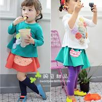 Flower female child 100% cotton long-sleeve T-shirt child top children's clothing 2014 annika
