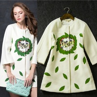 New arrival 2014 women's fashion embroidered color block three quarter raglan sleeve fashion wool outerwear coat