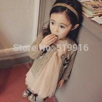 Vest tulle dress flower cardigan female child set children's clothing 2014 amber