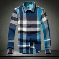 2014 new men's casual long-sleeved shirt Classic plaid shirt male 100% cotton shirt
