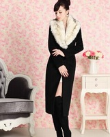 2014 autumn women's black ultra long paragraph detachable fur collar woolen thick outerwear overcoat